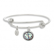 The Adjustable Band Bangle Bracelet featuring the Painted Nautical Anchor
