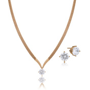 LAURA & ALEXANDER Elegant Classic Prong Set Cubic Zirconia Drop Snake Chain Necklace and Earring SET