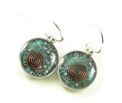 Orgone Energy Small Circle Dangle Earrings-Turquoise in Antiqued Silver Finish
