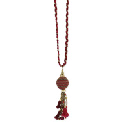 Zad Jewellery Braided Thread & Ball Chain Tassel Long Necklace, Red Multi