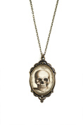 "Steampunk Skull 30x40mm Brass Filigree Necklace on 18"" Chain"