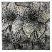 Essential Décor Entrada Collection Metallic Flowers Canvas Oil Painting, 40.2 by 11cm by 100cm