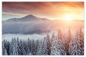 Picture Sensations Glow in The Dark Canvas Wall Art, Snow Mountain Sunset