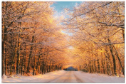 Picture Sensations Glow in The Dark Canvas Wall Art, Winter Sunset