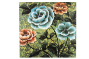 Essential Décor Entrada Collection Canvas Oil Painting, 40.2 by 11cm by 100cm , Blue/Orange Flower