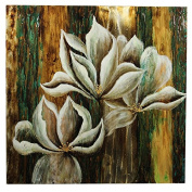 Essential Décor Entrada Collection Wood Background Canvas Oil Painting, 40.2 by 11cm by 100cm , White Flower