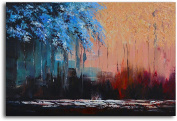 """Omax Decor Hand Painted """"Transposing Seasons"""" Oil Painting on Canvas"""