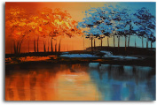 """Omax Decor Hand Painted """"Into The New"""" Oil Painting on Canvas"""