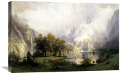 Global Gallery Albert Bierstadt View of Rocky Mountains Stretched Canvas Artwork