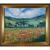overstockArt Monet Poppy Field near Giverny Painting with Elegant Wood Frame, Gold Finish