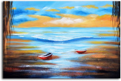"""Omax Decor Hand Painted """"Dinghies at Shore"""" Canvas Wall Art"""