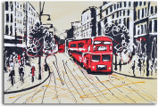 """Omax Decor Hand Painted """"The Red Metropolis"""" Canvas Wall Art"""