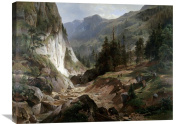 Global Gallery Herman Fueschel Mountain Landscape Stretched Canvas Artwork