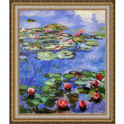 overstockArt Water Lilly Framed Oil Reproduction of an Original Painting by Claude Monet