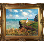 overstockArt Cliff Walk at Pourville Painting with Victorian Gold Frame by Monet