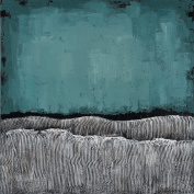 """Empire Art Direct """"Teal Atmosphere"""" Original Textured Metallic Oil Painting by Martin Edwards"""