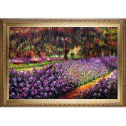 overstockArt Artist's Garden at Giverny with Elegant Wood Frame Oil Painting by Monet