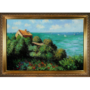 overstockArt The Coastguard's Cottage at Pourville Oil Painting with Elegant Wood Frame by Monet, Gold Finish