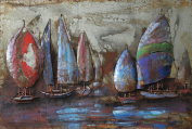 """Empire Art Direct """"The Regatta 5.1cm Mixed Media Hand Painted Iron Wall Sculpture by Primo"""