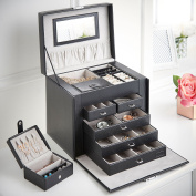 Beautify Large Faux Leather Jewellery Box with 5 Drawers, Removable Travel Case, Ring, Earring & Necklace Storage, Pockets & Mirror - Black Snake Skin Print with Grey Velvet Lining