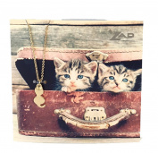 Zad Jewellery 'Here Kitty' Cat Mini Pendant Necklace, Golden