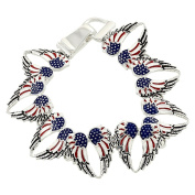 Lola Bella Gift USA American Flag Wings Patriotism Magnetic Bracelet