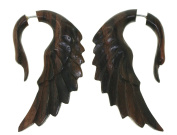 "Fake Gauge Earrings - ""Sandbank Swan"" - Sono Wood - Primal Distro"