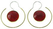 "Boho Style Earrings - 18 Gauge - ""Wine"" - Sterling Silver Posts w/ Brass - Resin - One-Sided"