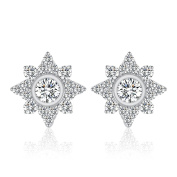 Ashley Jeweller Sparkling Star Micro Pave CZ .925 Sterling Silver Stud Earrings For Women