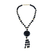 Pearlz Gallery Influence Drum, Round, Coin Shaped Black Agate Gem Stone Beads Necklace for Women