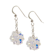 Sterling Silver and Crystal Woven Earrings in Crystal Clear