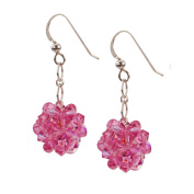 Sterling Silver and Crystal Woven Earrings in Rose