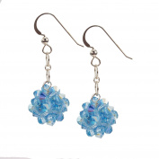Sterling Silver and Crystal Woven Earrings in Aquamarine