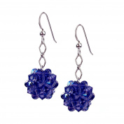 Sterling Silver and Crystal Woven Earrings in Tanzanite