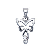 Stainless Steel Cutout Butterfly Pendant w/Crystal Stones