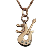 Fashion Jewellery - 18K Rose Gold Plated Guitar Necklace