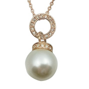 Fashion Jewellery - 18K Rose Gold Plated Imitation Pearl Necklace