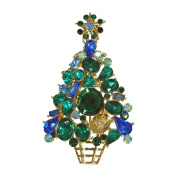 Stunning Blue Christmas Tree Vintage Inspired Holiday Gift Brooch pin HandCrafted P4952