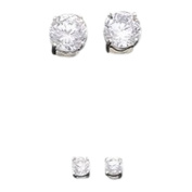Set of Sterling Silver 4mm and 8mm Basquet Set CZ Studd Earrings