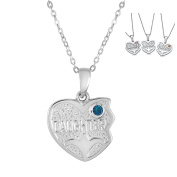 Part 1 of 3 - Left Side Daughter in Personalised Birthstone - Daughters and Mom Three Hearts Pendants