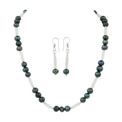 Pearlz Ocean Fresh Water Pearl and White Topaz Necklace Set