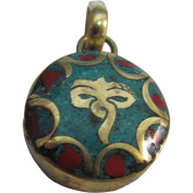 Yoga Meditation Buddha's Eye Coral Turquoise Inlay Tibetan Jewellery Gold-Tone Brass Round Small Necklace Pendant w/ Gift Pouch