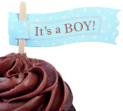 Bella Cupcake Couture 6-Pack It's a Boy Cupcake Flag Picks