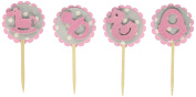All About Details Bubblegum Pink-grey Dots Baby Shower Cupcake Toppers, Set of 12