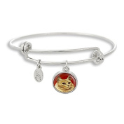 The Adjustable Band Bangle Bracelet featuring the Cat with Red Background
