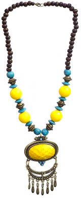 Yellow Beaded Necklace - Wood