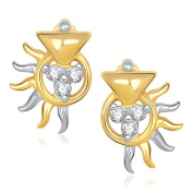 V. K. Jewels Bollywood Fashion Women's Sparkle Gold And Rhodium Plated Stud Earrings [Jewellery]