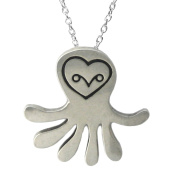 Mark Poulin Women's Pewter Necklace Owl-Octopus 46cm Chain