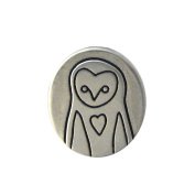 Mark Poulin Women's Pewter Necklace Barn Owl 46cm Chain