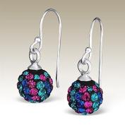 Crystal Ball Dangle Earrings, Crystal Ball Earrings 8mm, Sterling Silver Dangle Earrings